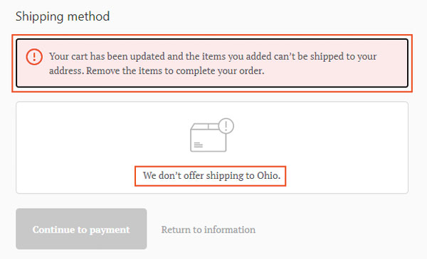 Shopify-No-Shipping-Rates-Message