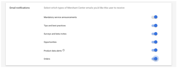 Merchant Center email notification settings