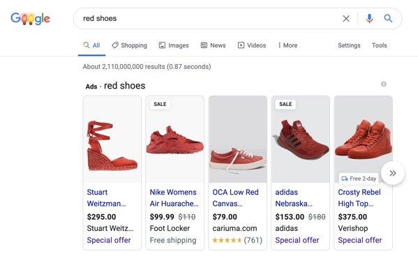 Shopping ads shown in Google search results