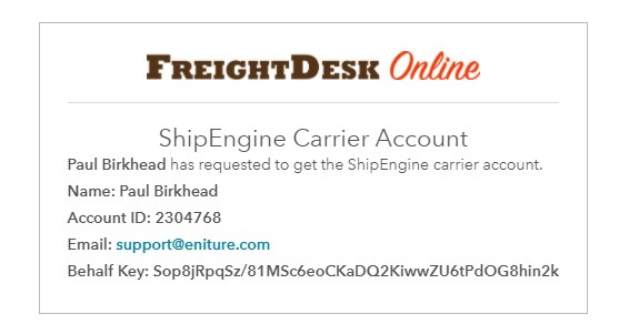 ShipEngine Carrier Account Request